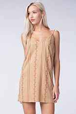 Tan Suede Dress with Embroidery