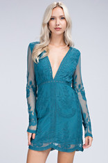 Teal Long Sleeve Lace Dress