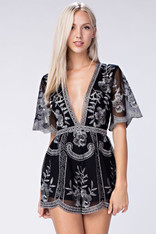 black romper silver embroidery