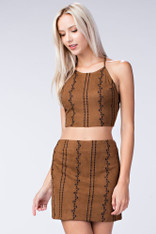 Brown Suede Crop Top