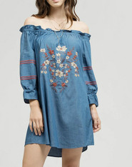 Chambray Off the Shoulder Dress with Embroidery