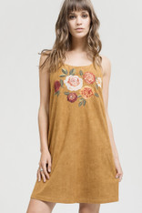 Suede Dress with Floral Embroidery