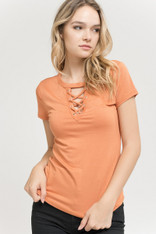 Fitted Burnt Orange Lace Up Tee
