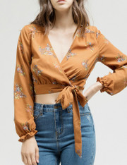 Burnt Orange Cropped Wrap Shirt