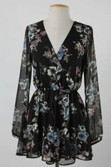 Black Long Sleeve Romper Floral Print