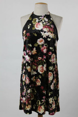 Black Velvet Dress with Floral Print