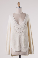 Ivory Deep V Sweater with Ribbed Trim