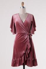 Pink Velvet Wrap Dress