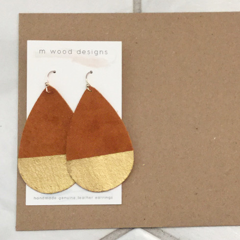 burnt orange leather earrings