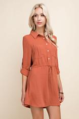 burnt orange shirt dress
