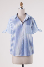 Light Blue and White Striped Button Down Shirt