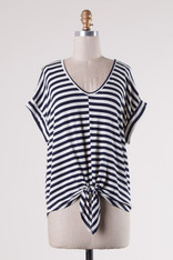 Navy and White Striped Knot Front Tee