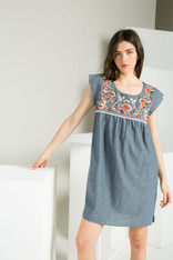 Chambray Dress with Orange and White Floral Embroidery