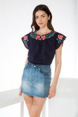 Navy Short Sleeve Embroidered Cotton Top