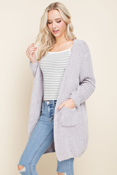chenille open sweater