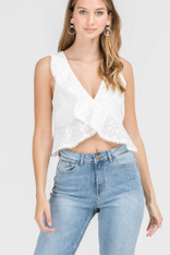White Crossover Eyelet Top
