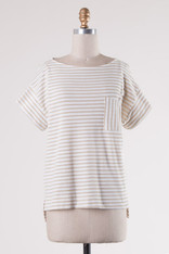 Taupe Striped Tee