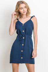 Navy Button Down Dress