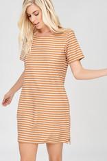 burnt orange and white striped dress