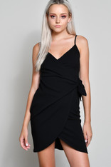Black Fitted Wrap Dress