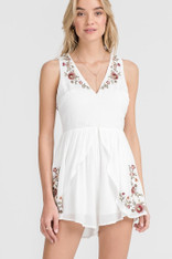 White Romper Floral Embroidery