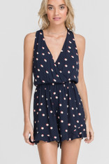 Navy Romper Pink and White Dots
