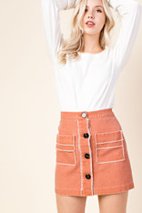 Dusty Peach Button Down Skirt with Pockets