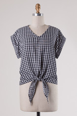 Black and White Gingham Top