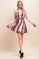 Striped Crossover Front Dress