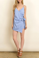 blue and white striped wrap front romper
