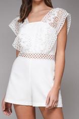 White Romper Crochet Trim