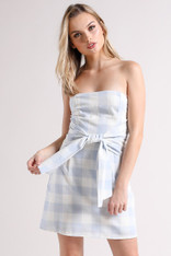 Light Blue and White Checkered Strapless Dress