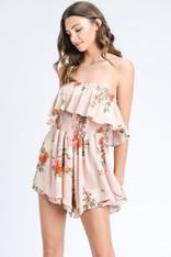 Blush Smocked Romper Floral Print