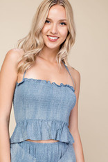 Dusty Blue Smocked Top