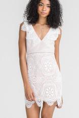 White Lace Dress V-Neck