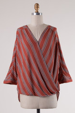 Burnt Orange Crossover Front Striped Top