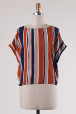 Burnt Orange Navy Striped Top