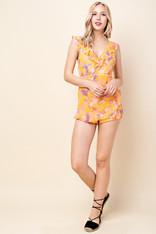 Yellow Tropical Print Romper