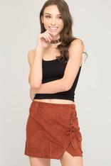Burnt Orange Faux Suede Skirt