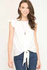 White Tie Front Ruffle Sleeve Top