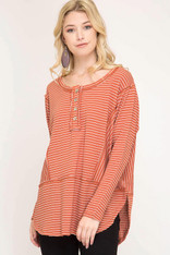 Burnt Orange and White Striped Long Sleeve Top