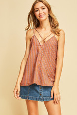 Burnt Orange Dotted Striped Criss Cross Front Top