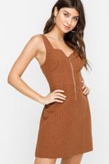 Burnt Orange Mini Dot Dress
