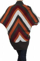 Burnt Orange Striped Open Sweater