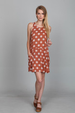Burnt Orange Dress with Polka Dots