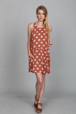 Burnt Orange Dress with Polka Dots