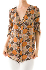 Burnt Orange Printed Blouse