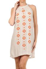Cream Dress Burnt Orange Embroidery
