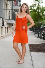 burnt orange fringe dress