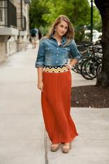burnt orange maxi skirt
